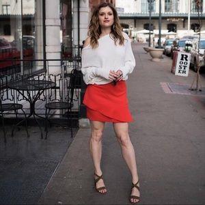 Top shop red ruffle skirt